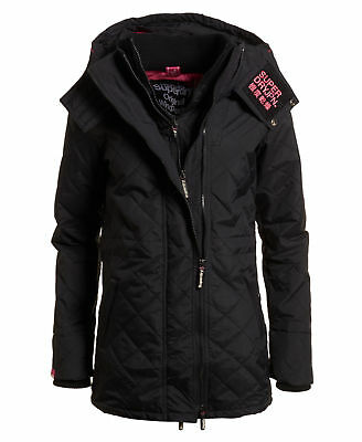 Superdry Mujer Parka técnica guateada SD-Wind Negro