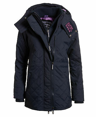 Superdry Mujer Parka técnica guateada SD-Wind French Navy