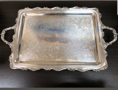 ANTIQUE American Rose 7391 SILVER PLATE SERVING BUTLERS TRAY