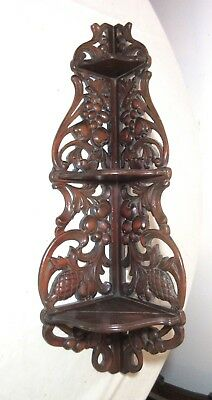 LARGE antique hand carved wood made figural fruit corner unit wall shelf corbel