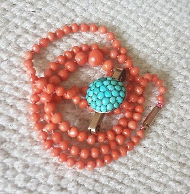 Natural Pink Salmon Coral Vintage Hand Knotted Necklace Tube 9C Clasp