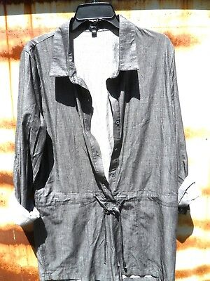 $49 Very J Gray Cotton Chambray Linen Button Down Shirt Romper Shorts Jumpsuit L