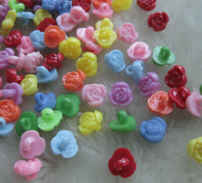 100pcs Fancy 10mm Rose Plastic Button backhole sewing doll baby lots Mix F040