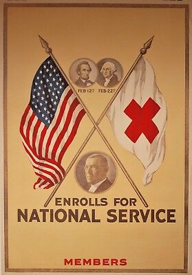 WW1 Red Cross Art Poster Enrolls For National Service Members Lincoln Washington