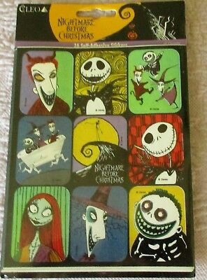 Vintage NIGHTMARE BEFORE CHRISTMAS Sticker Pack 36 Stickers