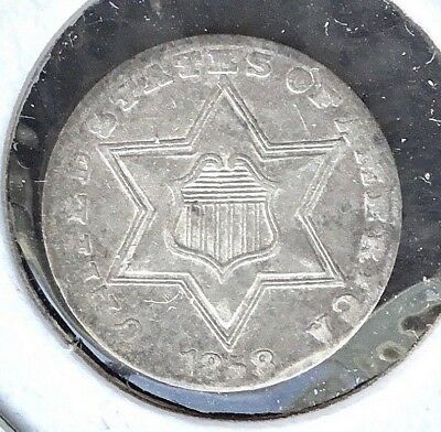 1858 3c SILVER Three-Cent Trime coin LARGE star OFF-CENTER