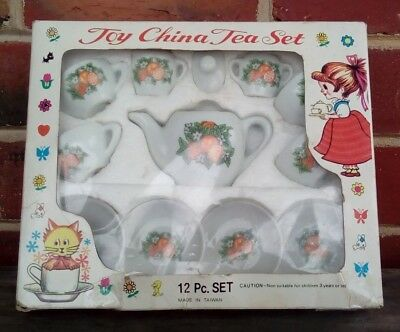 Vintage Children's Toy China Tea Set - Taiwan, 12 piece set, Orange pattern