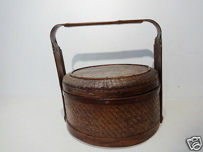 Superb Old Chinese Bamboo Wedding Basket Y Must See