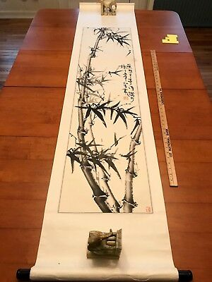 Japanese Chinese Scroll Painting Poem Story Calligraphy Bamboo Tree Chinatown SF