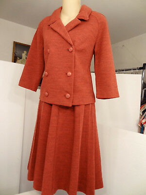 Vtg 60s R&K Knits Heathered/Space-Dye Wool-Knit Peacoat-Jacket/A-Line-Skirt-Suit