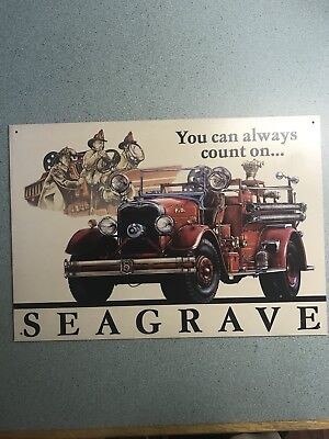 Vintage Replica Tin Metal Sign Seagrave Fire Engine Department fighter truck
