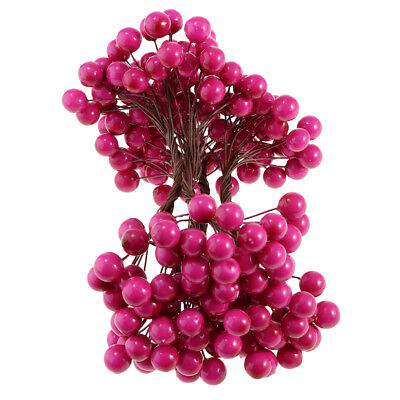 Blesiya Christmas Holly Berry Cones Leaf Branch Artificial Flower Wreath Red