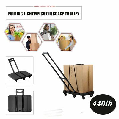 Foldable 440LB Hand Truck Dolly Collapsible 6 Wheels Cart Luggage Trolley Tool