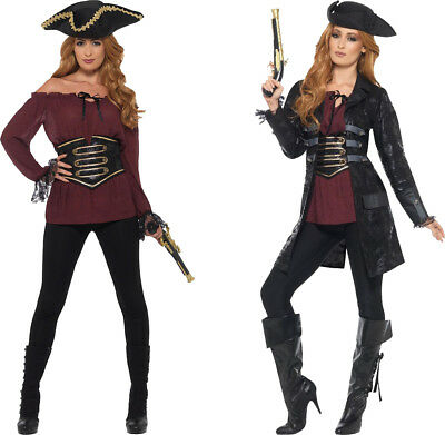 Ladies Deluxe Pirate Shirt Fancy Dress Costume Accessory Adult Outfit UK