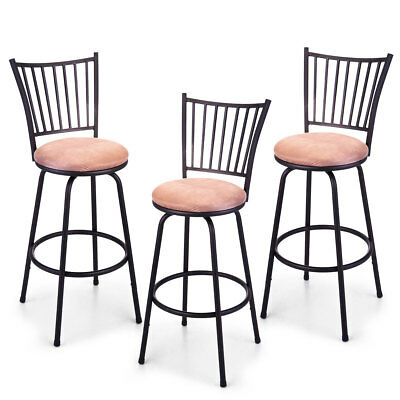 Wondrous Set Of 3 Adjustable Swivel High Back Bar Stools Counter Caraccident5 Cool Chair Designs And Ideas Caraccident5Info
