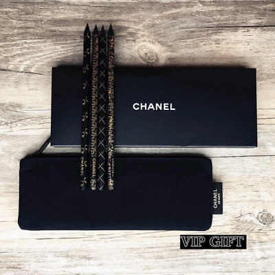 New Gift Chanel Set Of 4 Pencils + Pencil Case