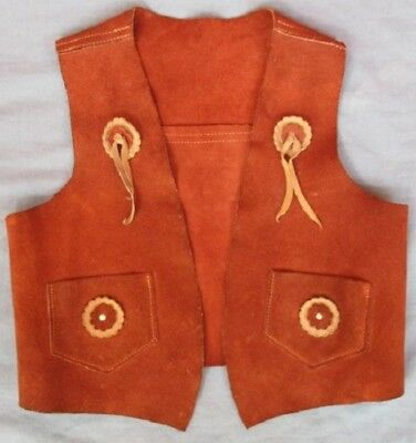 50s Child Western Wear suede leather COWBOY COWGIRL VEST L ~ Halloween Cosplay