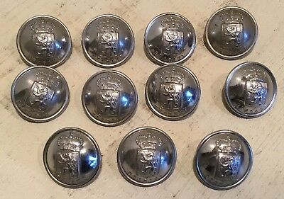 Lot of 11 vintage brass Belgian police jacket buttons