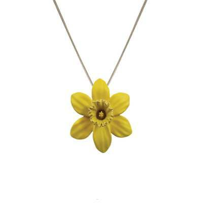 Daffodil With Trumpet Yellow Enamel Silver Tone Pendant Necklace