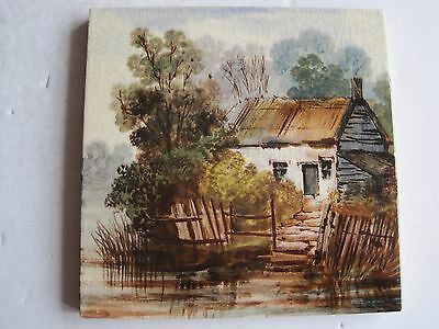 """Antique Victorian 6""""  Hand Painted Scenic View Tile"""