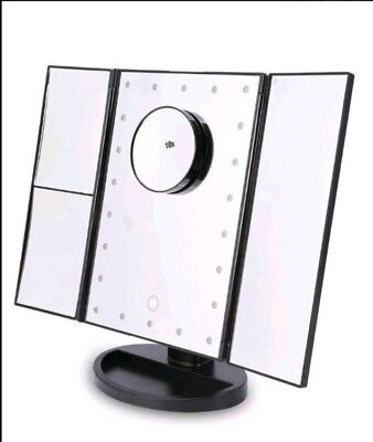 Tri fold vanity mirror 22 led lights extra magnification mirror white or black