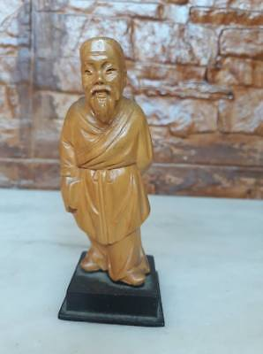 Old vintage Hand Carved Teak Wood wooden Chinese Confucius Statue Carving 291-72
