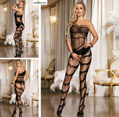 Catsuit Dessous Netz Body Fishnet Reizwäsche Body Stocking | Xs-M |H3120-Hh