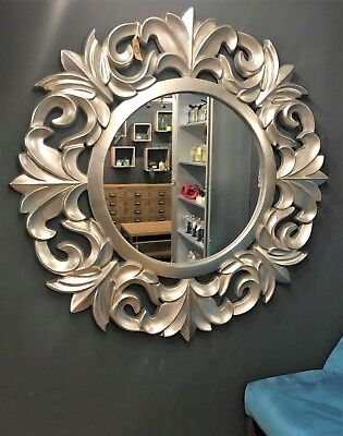X Large Size Ornate Baroque Mirror Round Silver French Rococo Style Vintage Chic