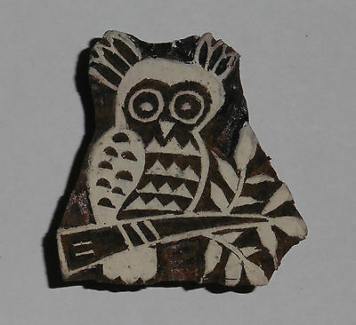 Owl Sitting on a Branch 5 cm Indian Hand Carved Wooden Printing Block Stamp
