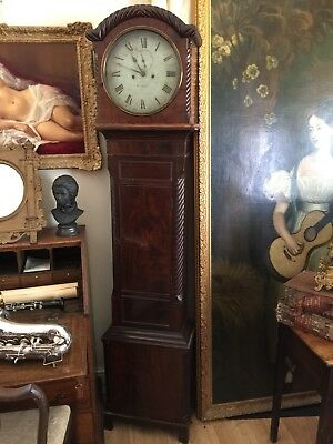 Irish Belfast Mahogany Round Dial Longcase Grandfather Clock For Repairs