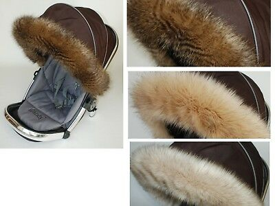 LUXURY fur hood trim for pram pushchair Stokke My Babiie Egg Mima fit all models