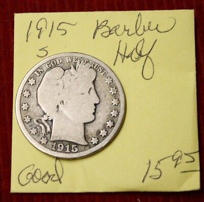 1915 S Barber Half Dollar -GOOD
