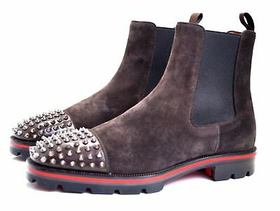 promo code eaa1a f2f4b CHRISTIAN LOUBOUTIN MELON Spikes Flat Brown Suede Chelsea Boots