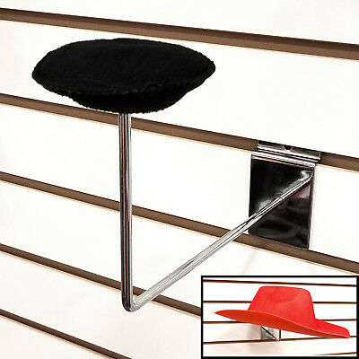 Slatwall Millinery Cap Hat Holder Display - Chrome - 25 Pieces