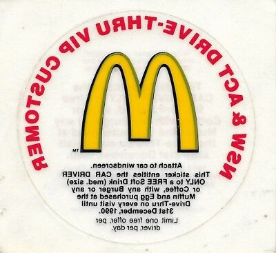 Vintage McDonald's NSW & ACT Drive-Thru VIP Sticker 1990 - 8.5cm round