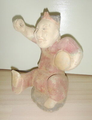 Ancient Chinese Tang Dynasty Pottery DRUMMER MAN Painted Figure Statue 26 cm.