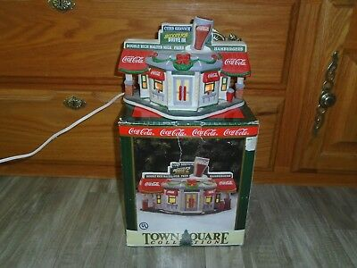 Vintage Coca Cola Scooter's Drive In Town Square Collection 1996 with Cord & Box