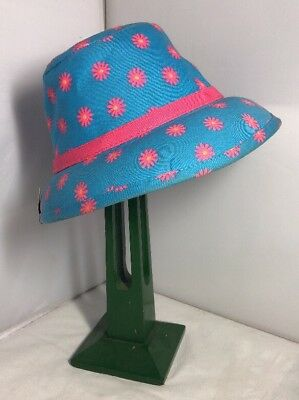Vintage Unused French Childs Girls Summer Hat Bonnet 60s 70s Retro Pink Daisy