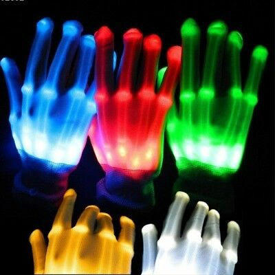 Halloween Costume Led skeleton glowing gloves, Halloween scary decoration gloves