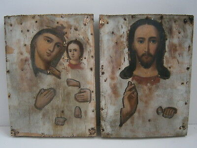 Antique Russian Orthodox Christian Icons Virgin Mary Jesus Christ Wood Painting