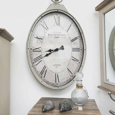 Extra Large Shabby Chic Oval Wall Clock - Antique Cream Pocket Watch - Vintage