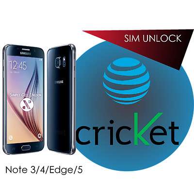 Samsung Galaxy Note 3 4 5 Edge AT&T Cricket SIM Unlock Remote Service INSTANT!