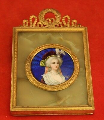 Antique French Enamel Portrait in Ormolu Easel Frame - Signed Stefan - Marble