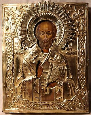 Russian Orthodox hand painted icon St.Nicolas.