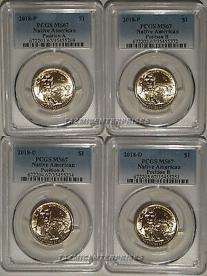2015 P /& D Native Sacagawea Dollar 4 Coin Set $1 PCGS MS66 Position A /& B