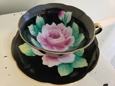 Hand Painted Made In Japan Black Teacup With Pink Rose Teacup And Saucer