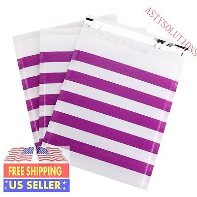 ANY SIZE/PACK purple strip poly bubble mailer self seal padded shipping envelope