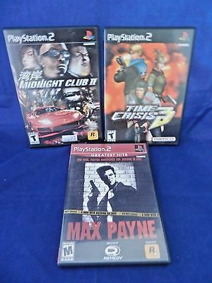 Lot of 3 PS2;Max Payne,Midnight Club II, Time Crisis III, VG, Complete,Free Ship