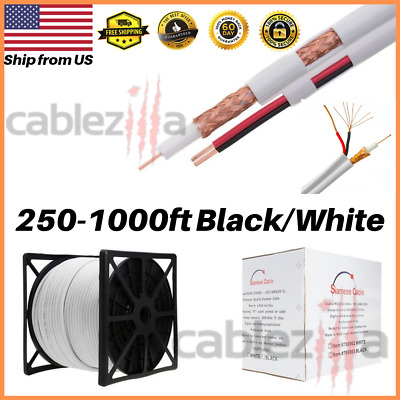 Siamese Cable RG59 Bulk Power Wire 20AWG 18/2 Security Camera 1000 500 250 FT
