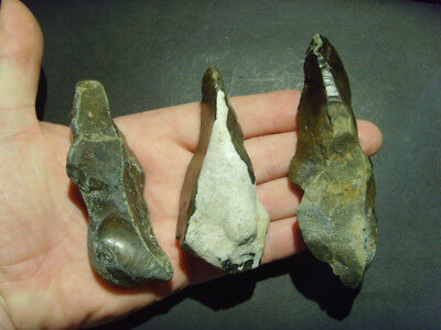 Palaeolithic - Three Superb Mousterian elongated scrapers  UK c.  60,000BP
